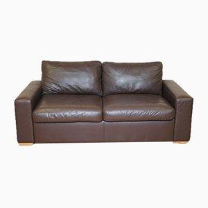 Braunes Leder Zwei-Sitzer Schlafsofa