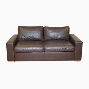 Brown Leather Two-Seater Sofa Bed