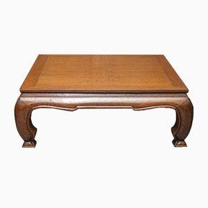 Large Dynastic Hardwood Coffee Table on Squat Cabriole Legs