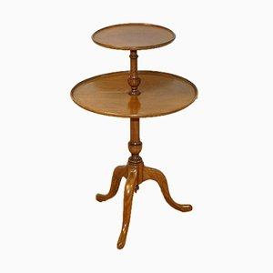 Grande Table Ronde à Deux Niveaux de Style Queen Anne en Bois Dur