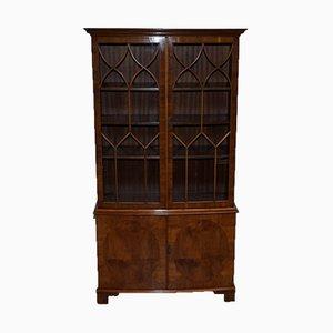 Vintage Golden Oak Display Cabinet with Glass Doors