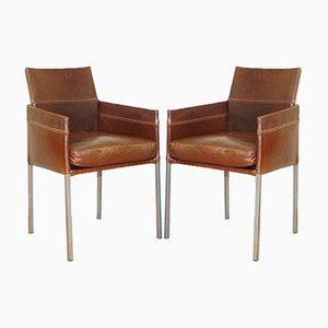 Vintage Brown Leather and Steel Texas Dining Chair by Karl Friedrich Förster