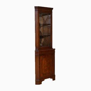Vintage Brown Hardwood Astragal Glazed Corner Cabinet