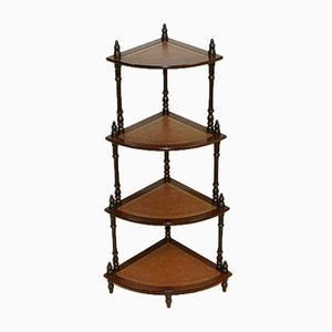 Viktorianischer Stil Hartholz Braune Leder Intarsie Corner What Not Table