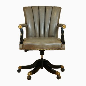 Vintage Art Deco Grey Leather Shell Back Swivel Chair with Lacquered Frame