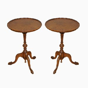 Victorian Burr Walnut Plant Stands or Side Tables on Tripod Legs, Set of 2
