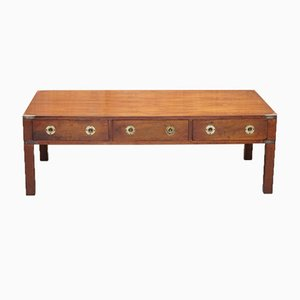 Vintage Military Campaign Yew Wood Coffee Table from Bradley