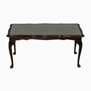 Table Basse Vintage avec Plateau en Cuir Vert Embossé sur Pieds Queen Anne