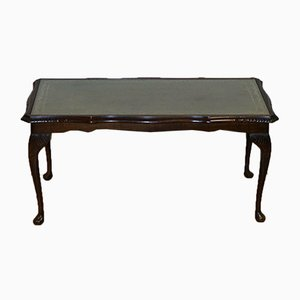 Vintage Coffee Table with Embossed Green Leather Top on Queen Anne Legs