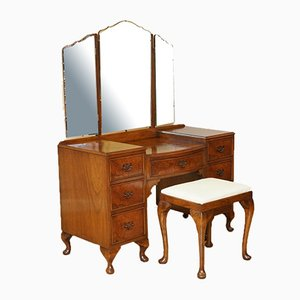 Vintage Burr Walnut Dressing Table & Stool with Trifold Mirrors