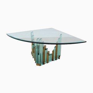 Table Basse Style Brutaliste Vintage en Verre, 1980s