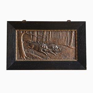 Plaque en Relief Sanglier en Bronze par H Henjes, 1880