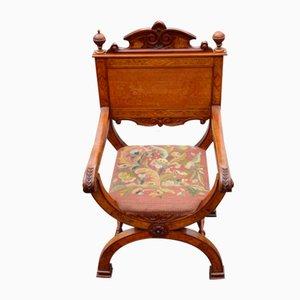 Walnut X Chair with Inlay, 1900s