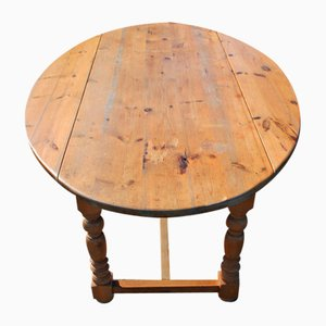 Oval Drop Leaf Table in Country Pine, 1900s