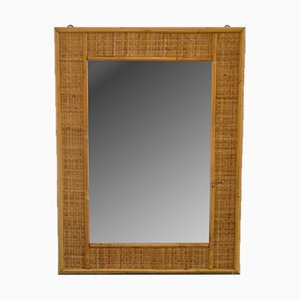 Rectangular Wicker Mirror, 1960s