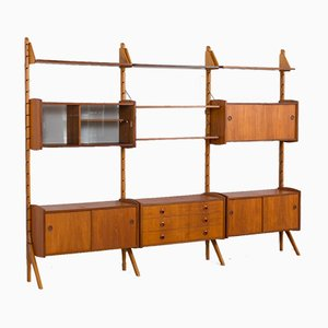 Modulares 3-Bay Ergo Wandregal aus Teak mit 4 Schränken und Kommode von John Texmon für Blindheim Møbelfabrikk, 1970er