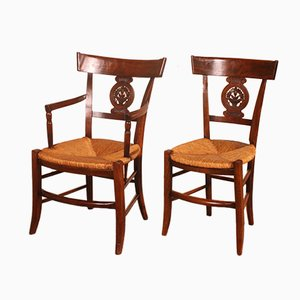 Directoire Style Chairs and 2 Armchairs, 19th Century, Set of 8