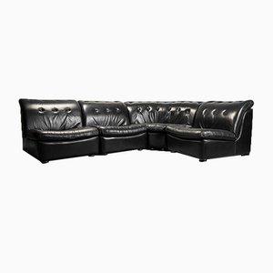 Vintage 4-Piece Modular Corner Sofa in Leather, 1970s, Set of 4
