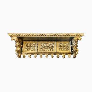 Antikes Wandregal aus vergoldetem & geschnitztem Holz, frühes 19. Jh