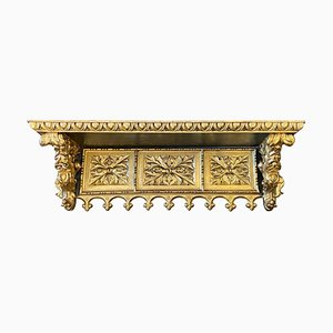 Antique Early 19th Century Gilded Hand-Carved Wood Wall Shelf, Early 19th Century