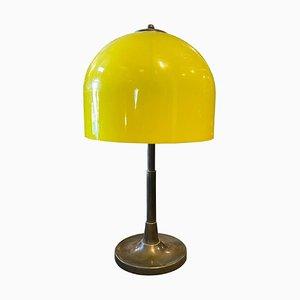 Lampe de Bureau Mid-Century en Laiton et Plexiglas Jaune, Italie, 1960s