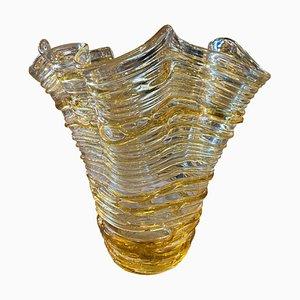 Moderne gelbe Vase aus Muranoglas von Sergio Costantini, 1980er