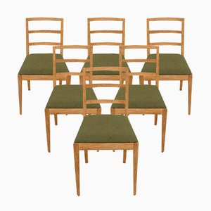 Mid-Century Danish Ladder Back Dining Chairs in Sanded Oak with Green Upholstery from Fritz Hansen, Denmark, 1950s, Set of 6