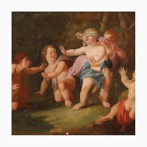 Antique Italian Painting, Game of Cherubs, 18th Century