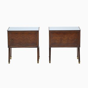 Wooden Bedside Tables with Glass Tops, 1950s , Set of 2
