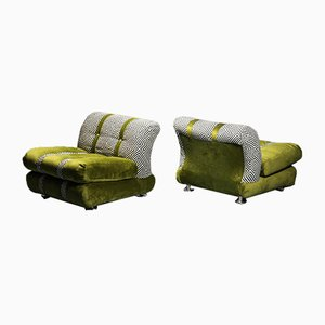 Vintage Armchairs with Green Velvet Cushions, 1970s, Set of 3