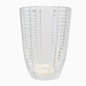 Grand Vase Art Déco en Verre Transparent