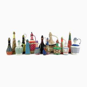 French Scoubidou Bottles, 1960s, Set of 16