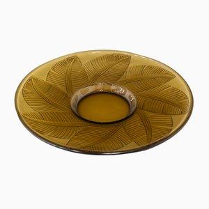 Large Vintage Glass Leaf Dish