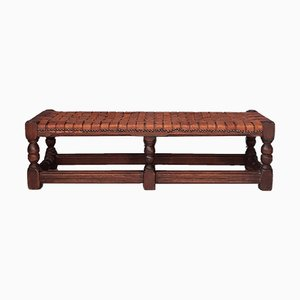 Antique Woven Leather Bench, 1900s