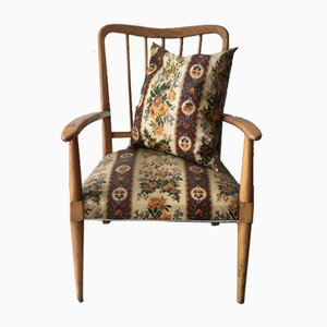 Armchair with Cushion, Blond Wood Frame and Floral Plastic Fabric in the Style of Ico Parisi, 1950s