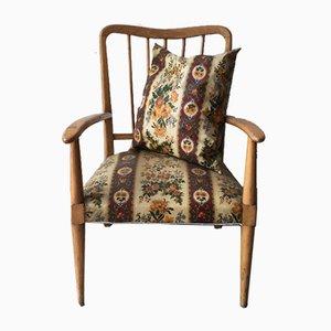 Sessel mit Kissen, hellem Holzrahmen und floralem Kunststoff im Stil von Ico Parisi, 1950er