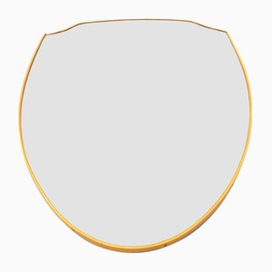 Shield-Shaped Mirror in Curved PVC with Brass Effect, 1950s