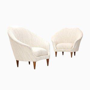 Armchairs in Cream White Fabric by Federico Munari, 1950s, Set of 2