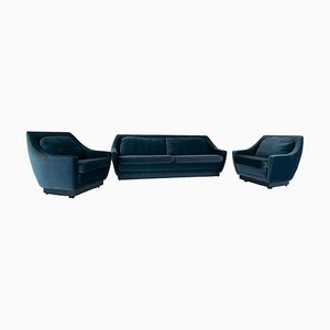 Art Deco Style Blue Velvet Sofa and 2 Lounge Chairs, Netherlands, Set of 3