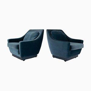 Art Deco Sessel in blauem Samt, Niederlande, 2er Set