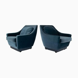 Art Deco Style Lounge Chairs in Blue Velvet, Netherlands, Set of 2