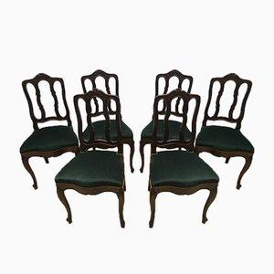 Chaises de Salle à Manger Style Louis XV Vintage en Chêne, 1940s, Set de 6