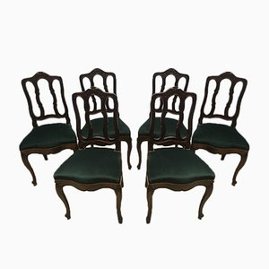 Vintage Louis XV Style Oak Dining Chairs, 1940s, Set of 6