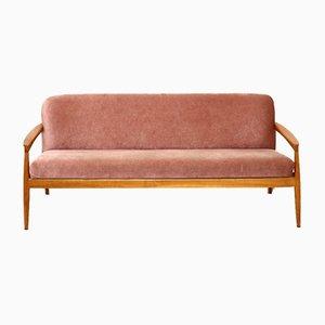 Vintage Pink 3-Sitzer Sofa mit Teak Gestell, 1960er
