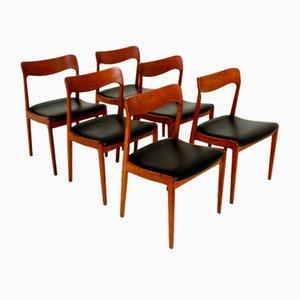 Teak Stühle, Dänemark, 1960er, 6er Set