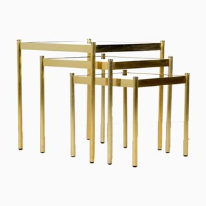 Mid-Century Brass Nesting Tables with Glass Tops, Italy, 1970s, Set of 3