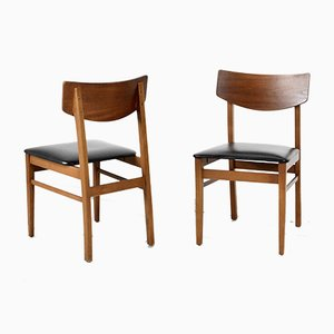 Teak and Leatherette Chairs, 1960s, Set of 4