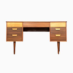 Walnut and Beech Concave Desk by Gunther Hoffstead for Uniflex, 1960s
