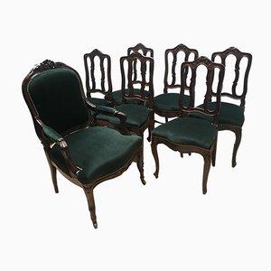 Chaises de Salle à Manger Style Louis XV Vintage en Chêne, 1940s, Set de 8