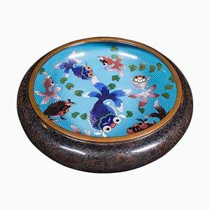 Große antike chinesische Cloisonne Fischschale aus Keramik, 1900er